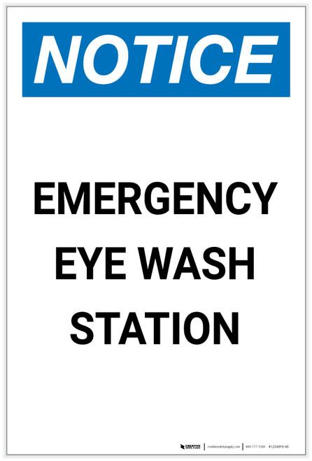 Notice: Emergency Eyewash Station Portrait - Label