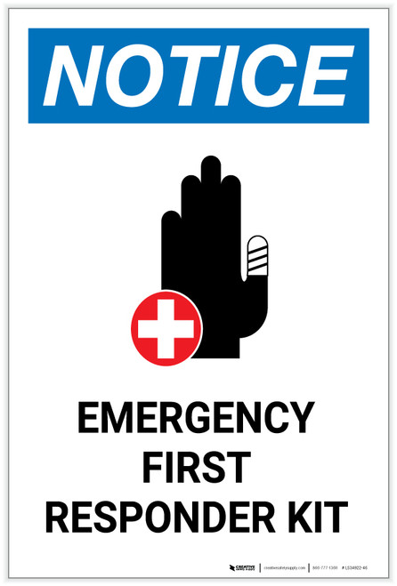 Notice: Emergency First Responder Kit with Icon Portrait - Label