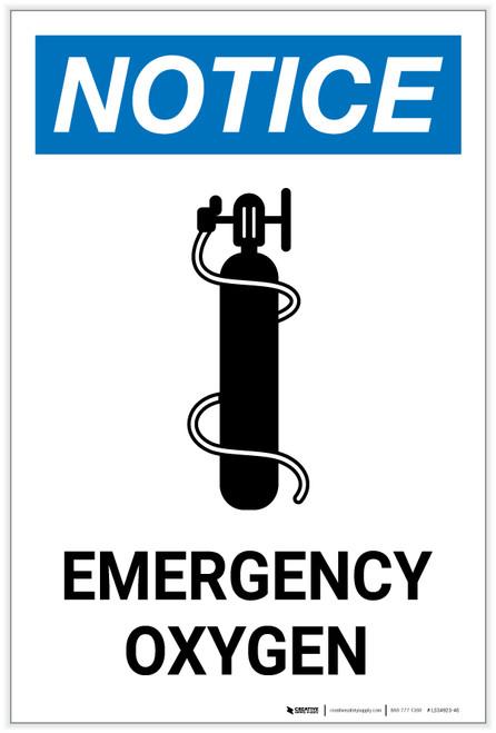Notice: Emergency Oxygen with Icon Portrait - Label