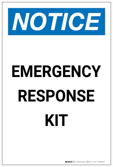 Notice: Emergency Response Kit Portrait - Label