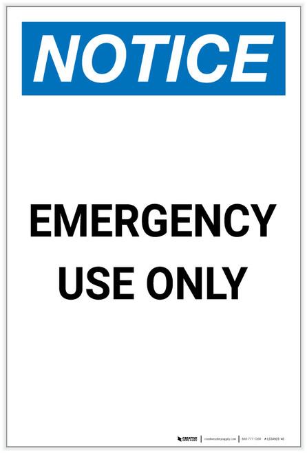 Notice: Emergency Use Only Portrait - Label