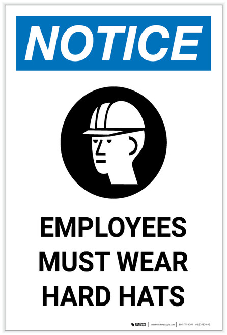 Notice: Employees Must Wear Hard Hats with Icon Portrait - Label