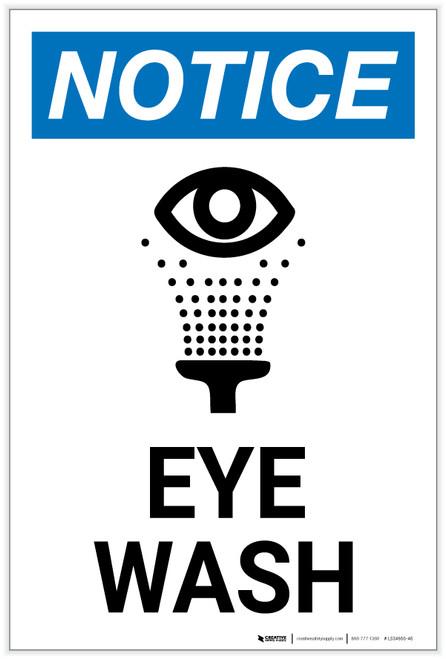 Notice: Eye Wash with Icon Portrait - Label