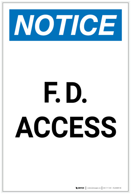 Notice: F. D. Access Portrait - Label
