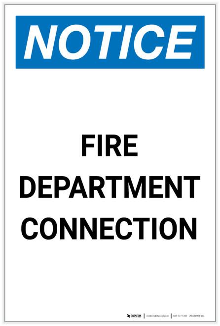 Notice: Fire Department Connection Portrait - Label