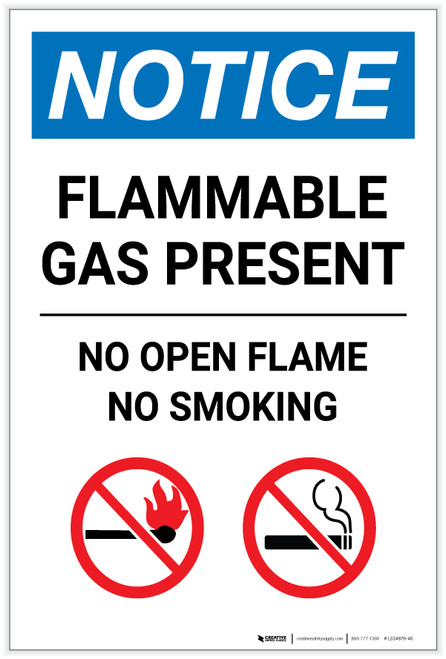 Notice: Flammable Gas Present - No Open Flame No Smoking with Icons Portrait - Label