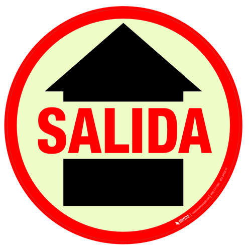 Glow in the Dark Salida (Exit) Floor Sign