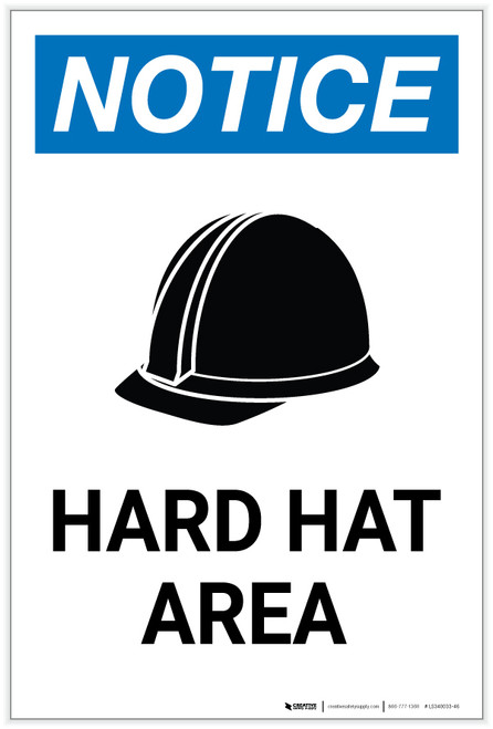 Notice: Hard Hat Area with Icon Portrait - Label