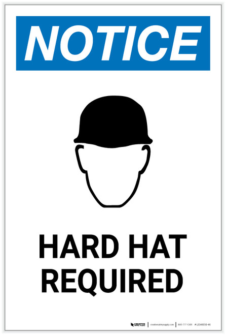 Notice: Hard Hat Required with Icon Portrait - Label