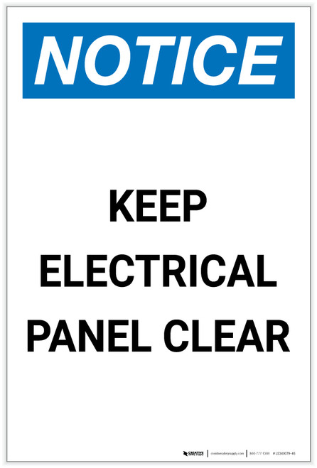 Notice: Keep Electrical Panel Clear Portrait - Label