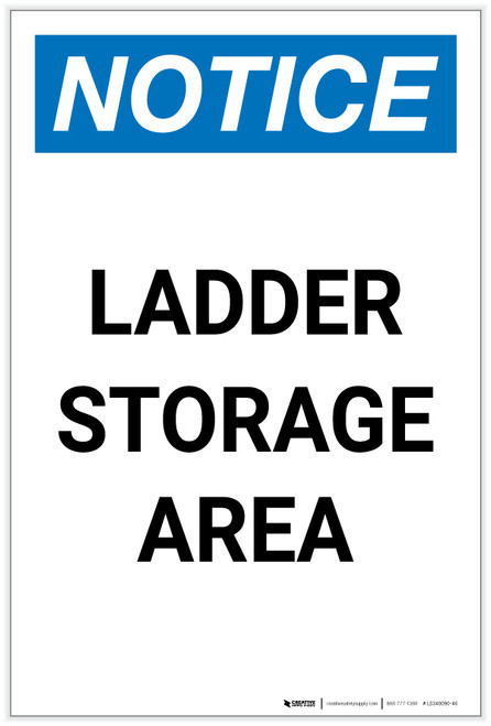 Notice: Ladder Storage Area Portrait - Label
