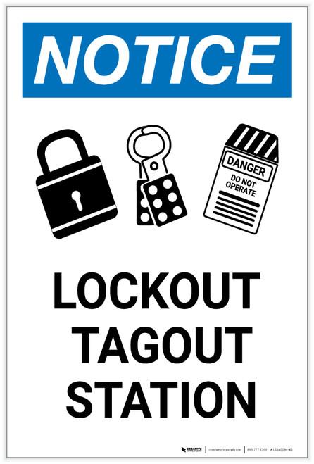 Notice: Lockout Tagout Station with Portrait - Label