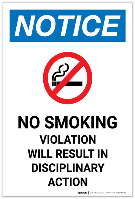 Notice: No Smoking Violation Will Result in Disciplinary Action with Icon Portrait - Label