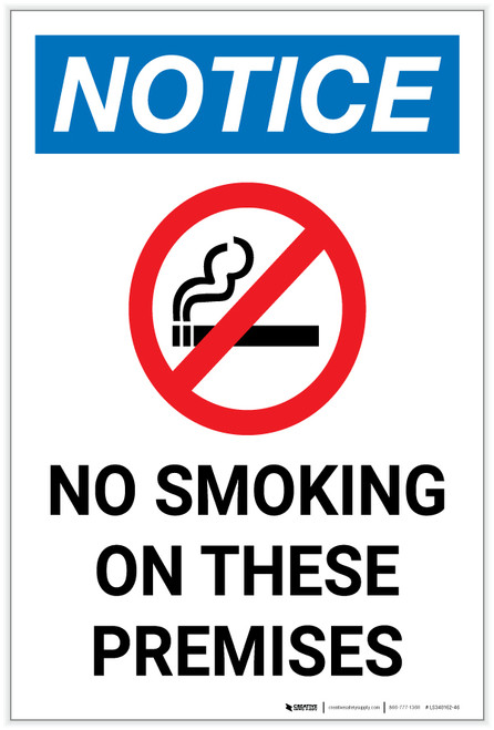 Notice: No Smoking on These Premises with Icon Portrait - Label