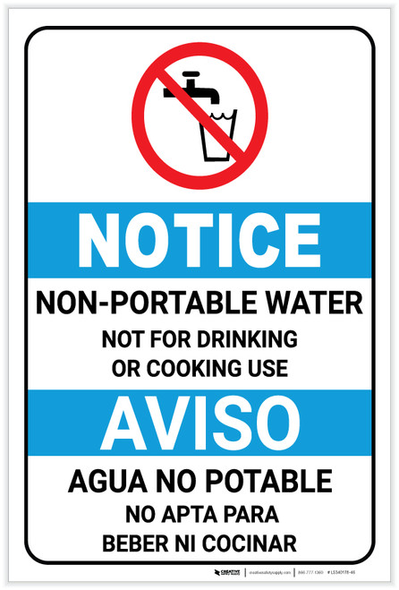 Notice: Non Potable Water Bilingual Spanish ANSI with Icon Portrait - Label