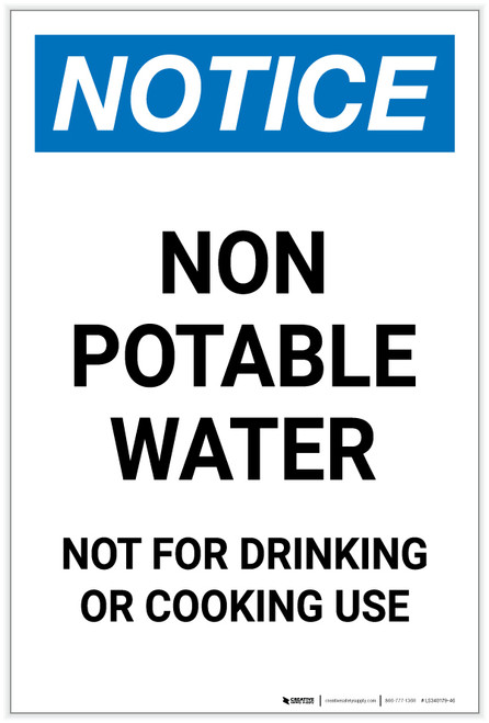 Notice: Non Potable Water Not for Drinking or Cooking Portrait - Label