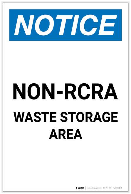 Notice: Non RCRA Waste Storage Area Portrait - Label