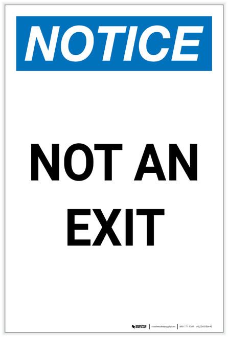 Notice: Not an Exit Portrait - Label