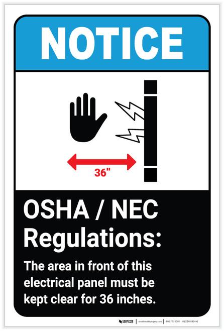 Notice: OSHA NEC Electrical Panel Regulations ANSI with Icon Portrait - Label