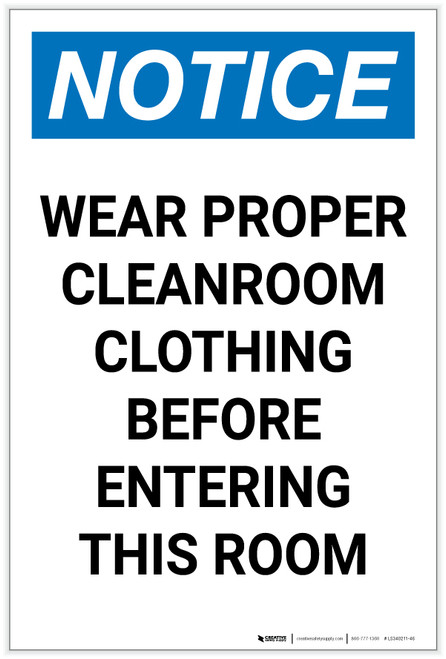Notice: Wear Proper Cleanroom Clothing Before Entering Portrait - Label