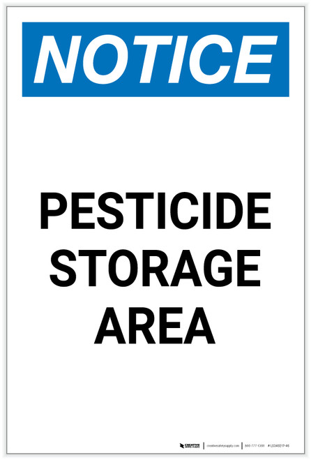Notice: Pesticide Storage Area Portrait - Label