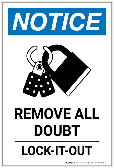 Notice: Remove All Doubt Lock-It-Out with Icon Portrait - Label