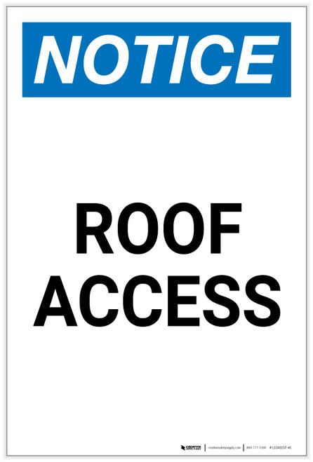 Notice: Roof Access Portrait - Label