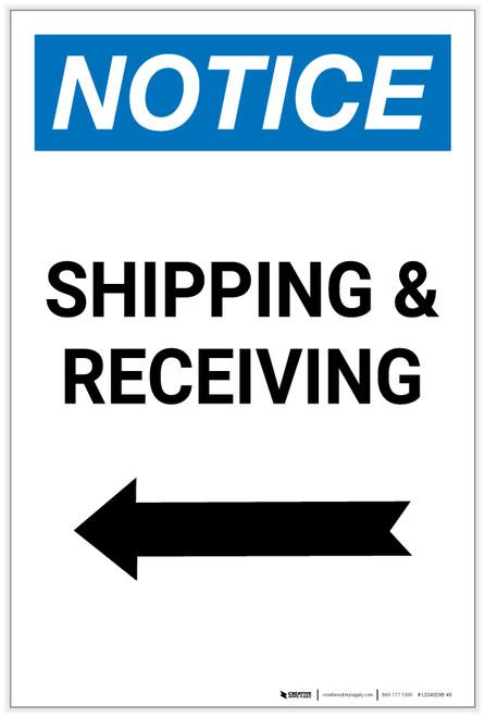 Notice: Shipping & Receiving - Arrow Left Portrait - Label