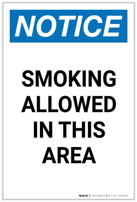 Notice: Smoking Allowed in This Area Portrait - Label