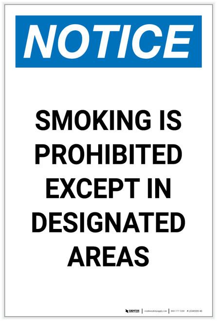 Notice: Smoking Is Prohibited Except Designated Areas Portrait - Label