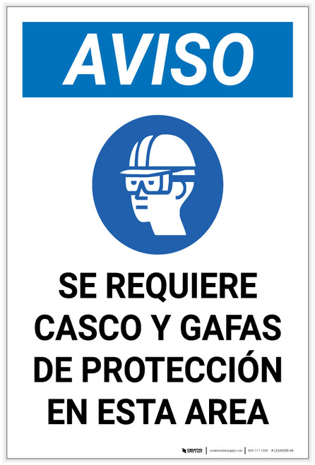 Notice: Spanish Helmet And Goggles Required In Area with Icon Portrait - Label
