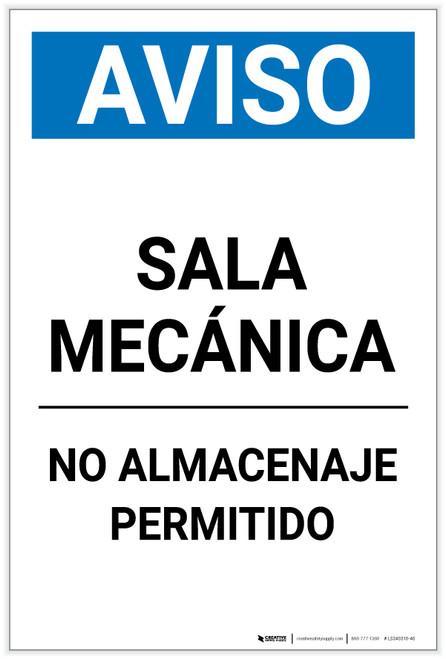 Notice: Spanish Mechanical Room No Storage Portrait - Label
