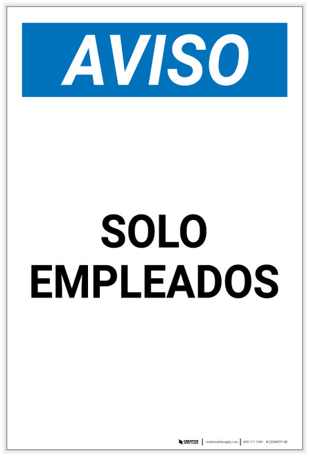 Notice: Spanish Employees Only Portrait - Label