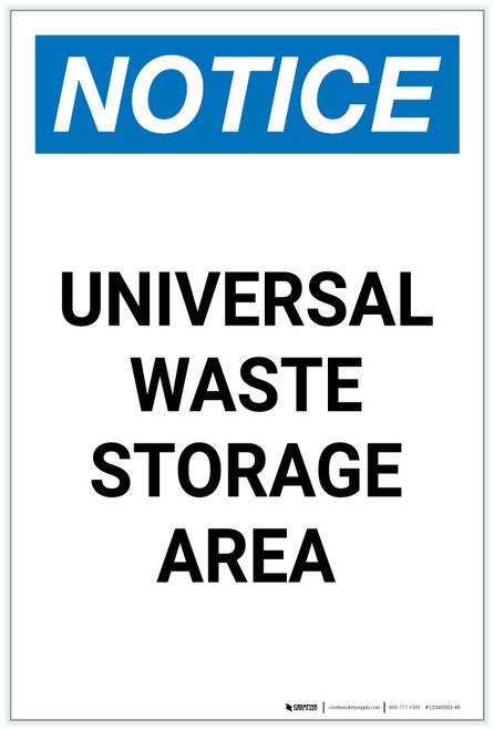 Notice: Universal Waste Storage Area Spanish Portrait - Label