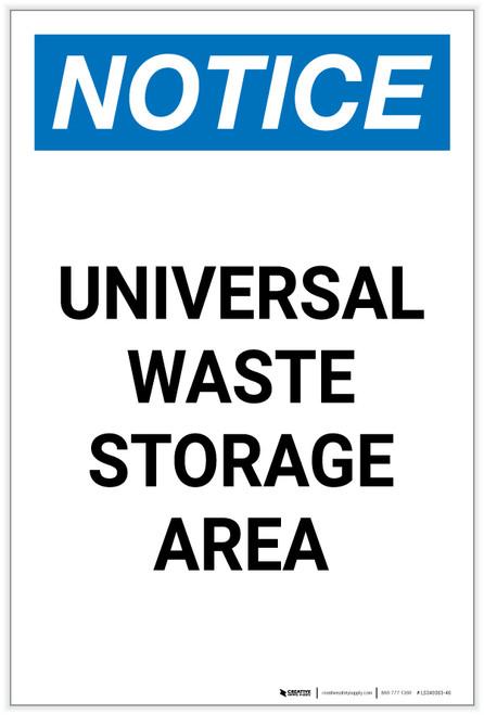Notice: Universal Waste Storage Area Spanish Portrait - Label