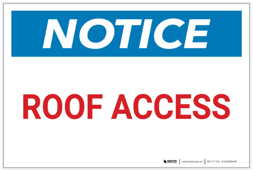 Notice: Roof Access Fire Safety - Label