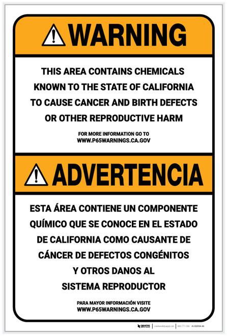 Warning: Prop 65 Bilingual (Spanish) - Label