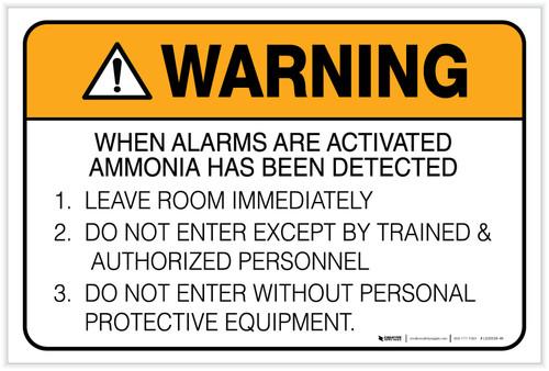 Warning: Ammonia Alarm Procedure - Label