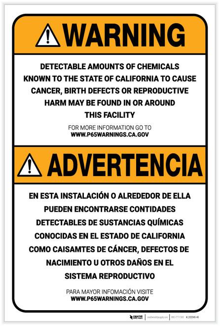 Warning: Prop 65 Facility Bilingual (Spanish) - Label