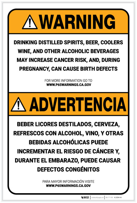 Warning: Prop 65 Alcohol Bilingual (Spanish) - Label