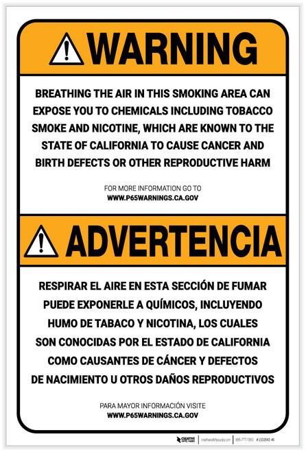 Warning: Prop 65 Smoking Area Bilingual (Spanish) - Label