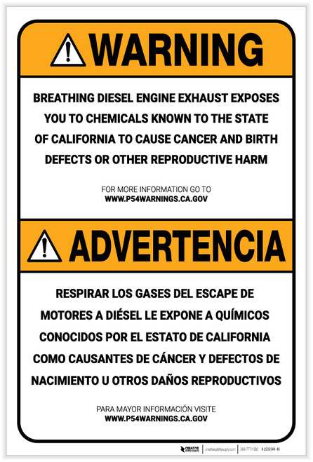Warning: Prop 65 Engine Exhaust Bilingual (Spanish) - Label