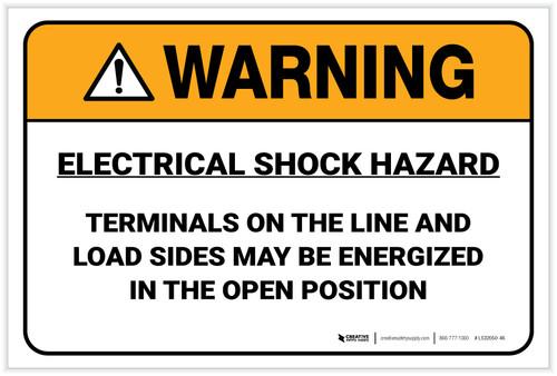Warning: Electrical Shock Hazard - Label
