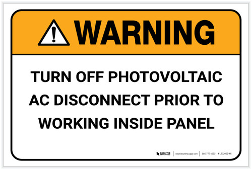 Warning: Turn Off Photovoltaic - Label