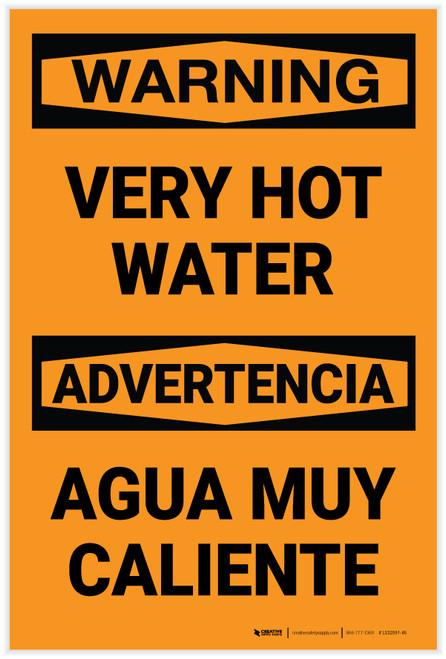 Warning: Very Hot Water Bilingual Spanish - Label