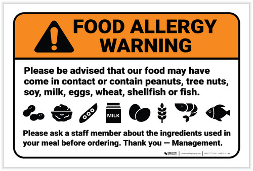 Warning: Food Allergy Warning Be Advised Food May Contain - Label