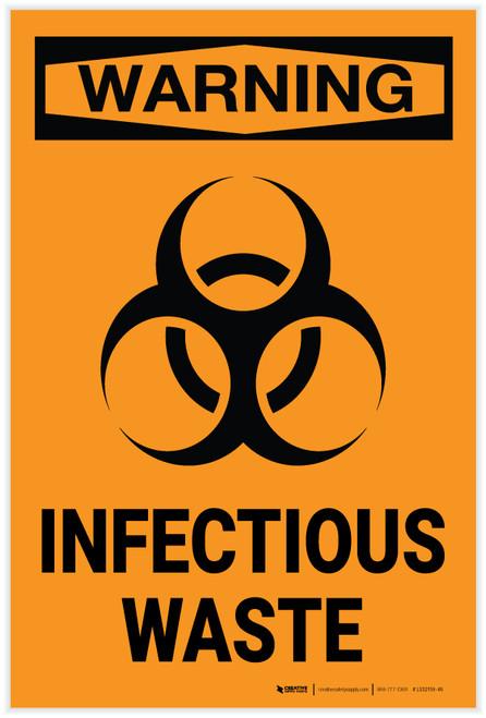 Warning: Biohazard Infectious Waste - Label