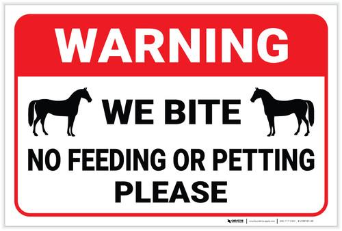 Warning: No Feeding Or Petting Horse - Label