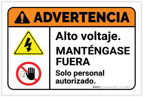 Warning: High Voltage Keep Away Spanish with Icons Landscape - Label