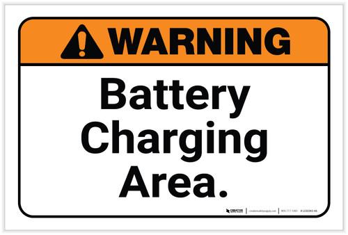 Warning: Battery Charging Area Landscape - Label